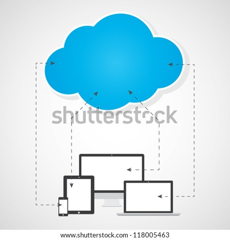 Cloud computing concept. Devices sending and receiving files. Vector eps10 - stock vector