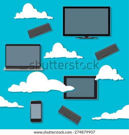 Cloud, computing, concept, devices, vector, illustration - stock vector