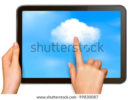 Cloud computing concept. Finger touching cloud on a touch screen. Vector. - stock vector