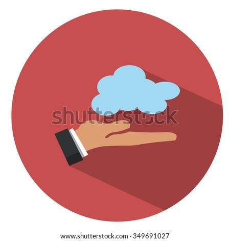 Cloud computing concept - flat icon - stock vector