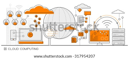 Cloud Computing concept info graphics. line icon flat design elements vector. big data - stock vector