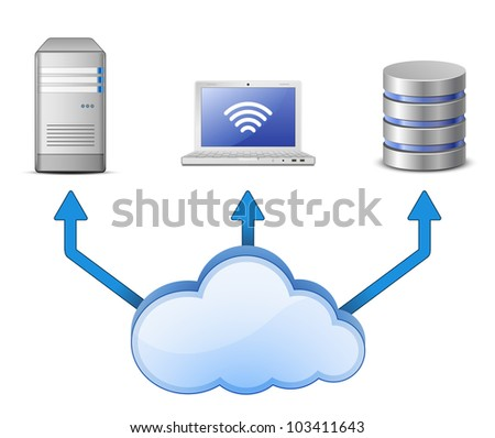 Cloud Computing Concept. Server, database and laptop connected to cloud computing network - stock vector