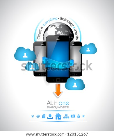 Cloud Computing concept - set of paper tags, technology icons, cloud cmputing, graphs, paper tags, arrows, world map and so on. Ideal for statistic data display. - stock vector
