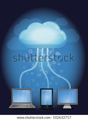cloud computing concept - vector illustration with computers and mobile phone - stock vector