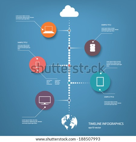 Cloud computing concept vector illustration with devices connected to cloud. Eps10 vector illustration - stock vector
