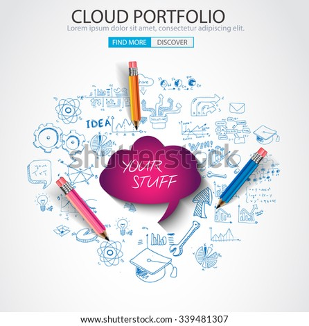 Cloud computing concept with doodle skeches infographics icons. Hand drawn icons of maths, graphs, notes, pencils, mail, and so on. - stock vector