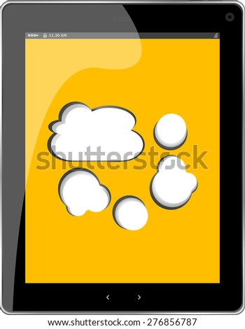 Cloud-computing connection on the digital tablet pc. Conceptual image. Isolated on white. vector - stock vector