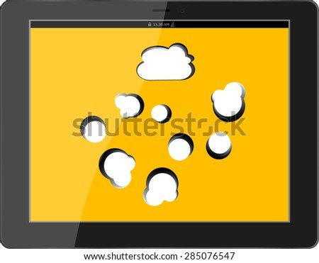 Cloud computing connection on the digital tablet pc. Conceptual image. Isolated on white vector - stock vector