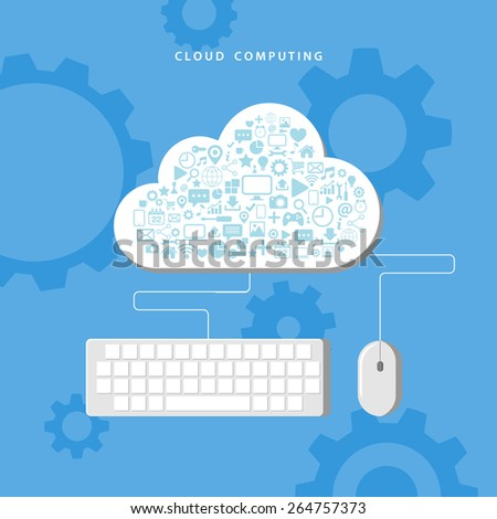 Cloud computing. Data storage network technology. Vector illustration. - stock vector