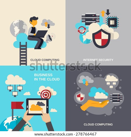 Cloud computing design concept set with internet security and business flat icons isolated vector illustration - stock vector