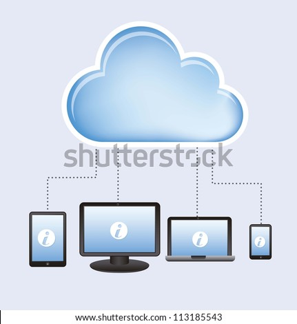 cloud computing design over white background. vector illustration - stock vector