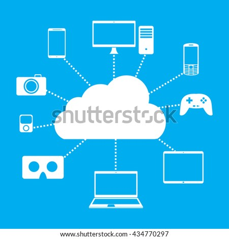 Cloud computing. Devices connected to the cloud. Technology connectivity concept. Vector Illustration. - stock vector