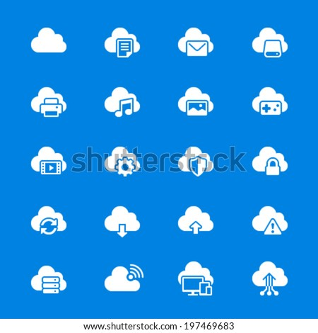 Cloud computing flat icons - stock vector