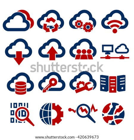 cloud computing icon set - stock vector