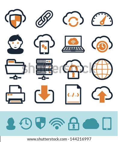 Cloud computing icons set - stock vector