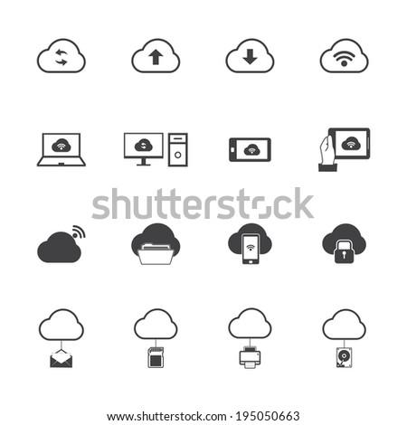 Cloud computing icons set. - stock vector