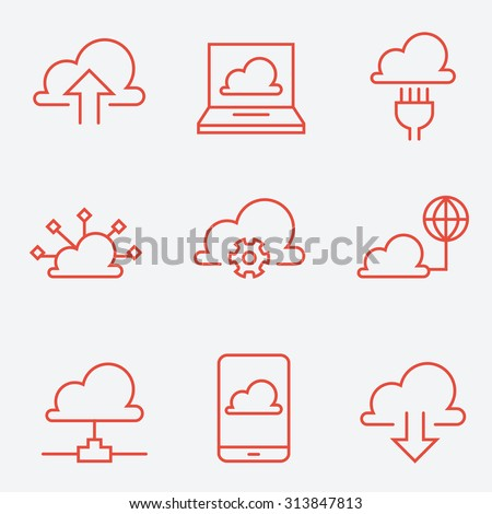 Cloud computing icons, thin line style, flat design - stock vector