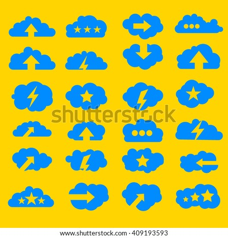 Cloud computing modern icons set with dots arrows and stars icons - stock vector