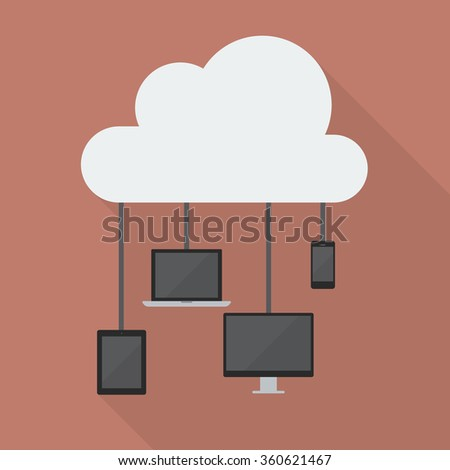 Cloud Computing Network Concept. Flat style with long shadow - stock vector