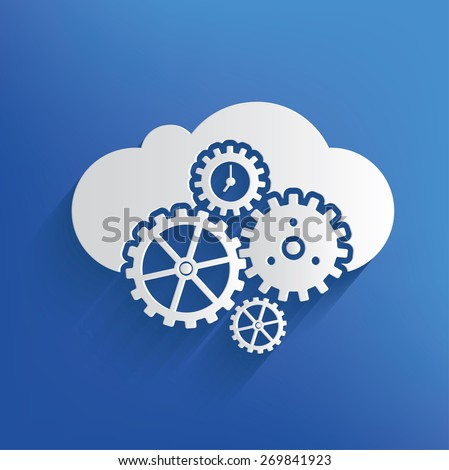 Cloud computing on blue background,clean vector - stock vector