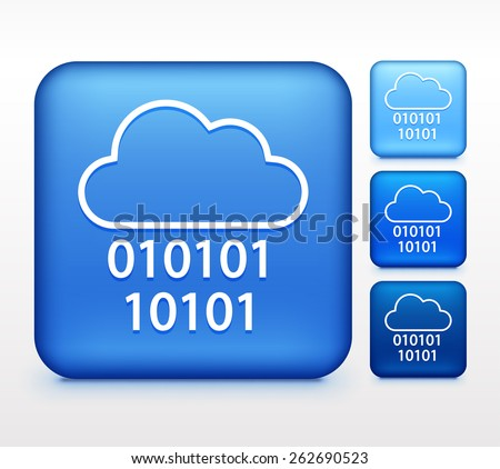 Cloud Computing on Blue Square Buttons - stock vector