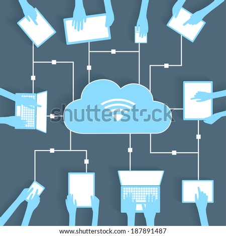 Cloud Computing Paper Cutout BYOD Devices Network - Wifi Internet Connectivity concept, EPS10 Grouped and Layered  - stock vector