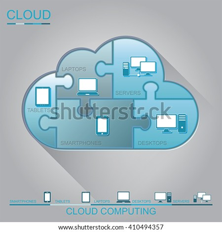 Cloud computing puzzle concept design, vector - stock vector