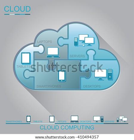 Cloud computing puzzle concept design, vector - stock vector