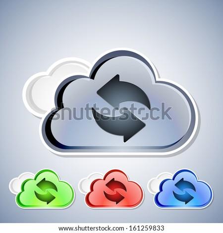 Cloud computing refresh icons set, vector illustration - stock vector