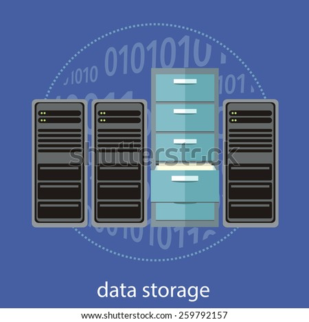 Cloud computing, render farm, data center, storage, server, high-performance workstations and networks flat design. Can be used for web banners, marketing promotional materials, presentation templates - stock vector