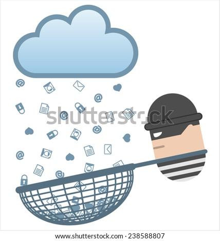 Cloud computing risks - stock vector