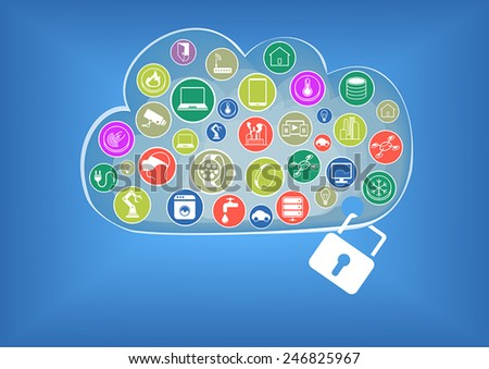 Cloud computing security for internet of things technology visualized by cloud, devices and lock - stock vector