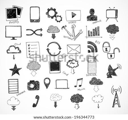 Cloud computing sketch  - stock vector