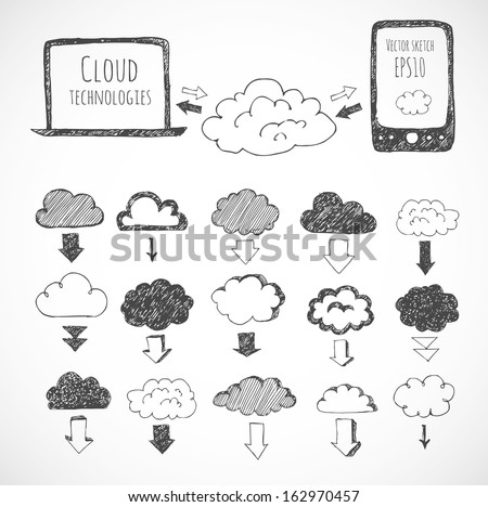 Cloud computing sketch. Icons of clouds, phone, laptop and arrows. Hand-drawn with ink. Vector sketch illustration. - stock vector