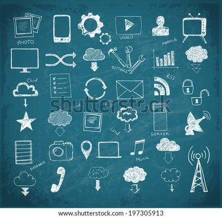 Cloud computing sketch.  Vector illustration. - stock vector