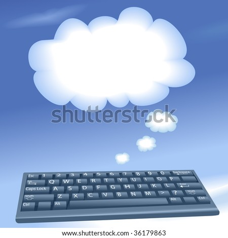 Cloud computing speech bubble clouds rise into a blue sky from an internet computer keyboard. - stock vector