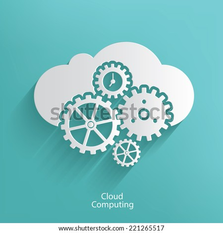 Cloud computing symbol on blue background,clean vector - stock vector