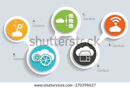 Cloud computing, technology info graphic design - stock vector