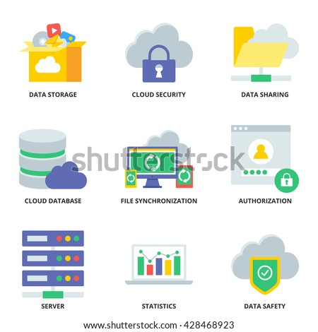 Cloud computing vector icons set modern flat style - stock vector