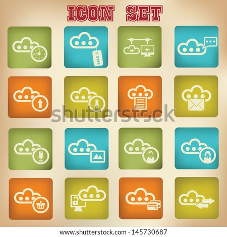 Cloud computing vintage icons,Set 3,vector - stock vector
