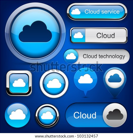 Cloud computing web blue buttons for website or app. Vector eps10. - stock vector