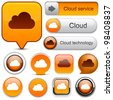 Cloud computing web orange buttons for website or app. Vector eps10. - stock vector