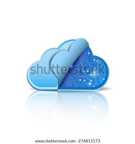 Cloud computing with electronic circuit - stock vector