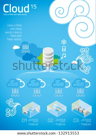 cloud computing with info graphics in blue background 15 - stock vector
