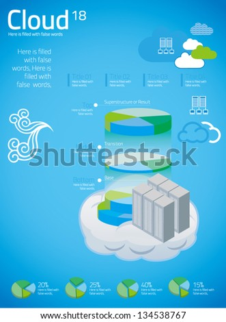 cloud computing with info graphics in blue background - stock vector