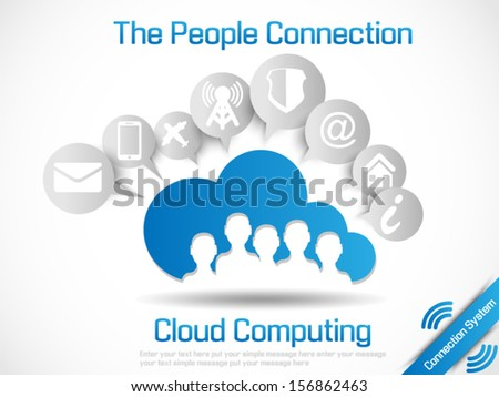 CLOUD COMPUTING WORLD PEOPLE CONNETTING - stock vector