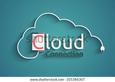 cloud connection concept, eps10 vector - stock vector