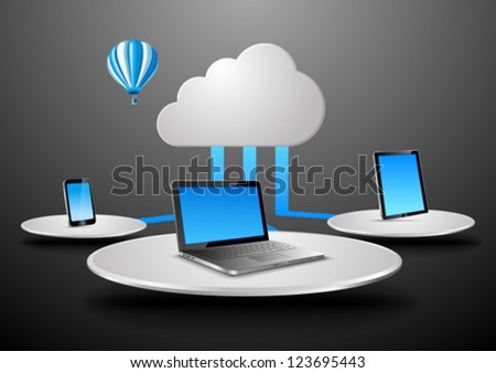 Cloud data concept in virtual space. Notebook, touchscreen phone, touch pad connected to cloud. Vector Presentation template for your product/application. Copyspace for your text or logo. Editable. - stock vector