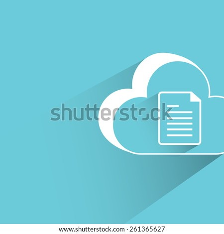 cloud data, flat and shadow theme - stock vector
