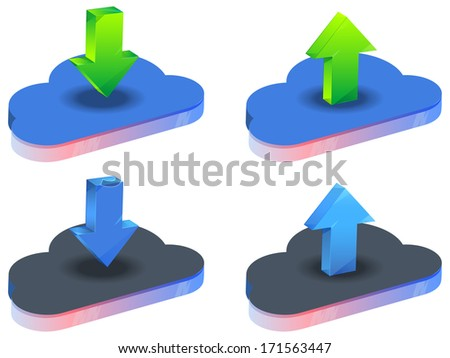 Cloud Data Storage Services - Illustration - stock vector